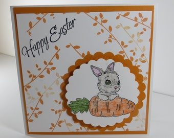 Happy Easter Card, Easter Cards, Handmade Easter Card, Bunny Easter Card