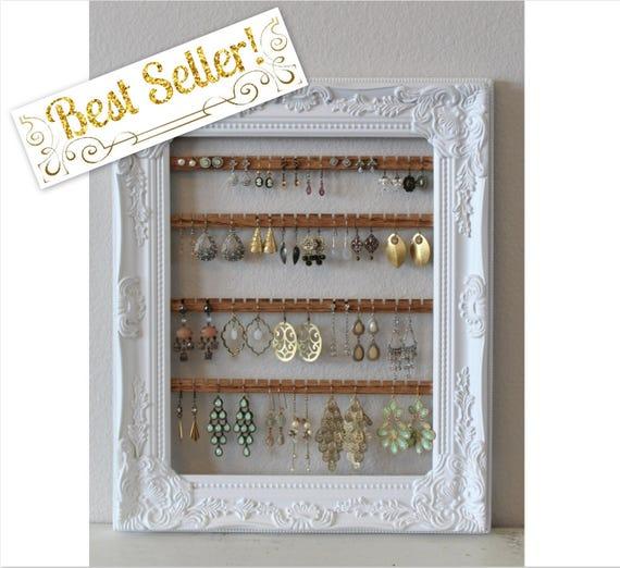 Diy Modern Hanging Jewelry Organizer: Earring Holder Frame Hanging Earring Organizer Custom