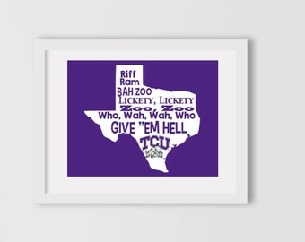 """INSTANT DOWNLOAD // TCU sign // Texas Christian University sign // College sign // Texas sign // Horned frogs sign // """"Riff Ram Bah Zoo"""""""