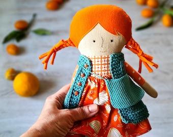 2nd birthday baby girl gift handmade doll . Baby girl gift soft baby rag doll . 2nd birthday girl Toddler toys fabric doll .