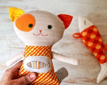 Cat stuff and fish  baby toys  gift for kids . Stuffed animal cat organic baby toys . Gift for kids cat and fish toys rag doll