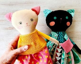 Black cat plush toys rag doll cat lover gift . Fabric doll Black cat plush stuff . Stuffed animal cat toys . Black cat stuff baby toys