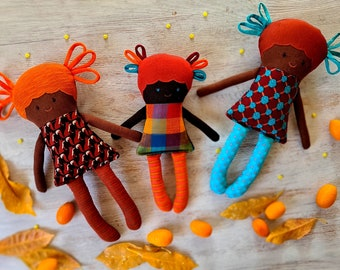 African American doll, Color dolls, Tan Skin, Ethnic Rag Doll, Small Gift for Little Girl, Cloth Stuffed Doll, Gift daughter, Friendly Doll