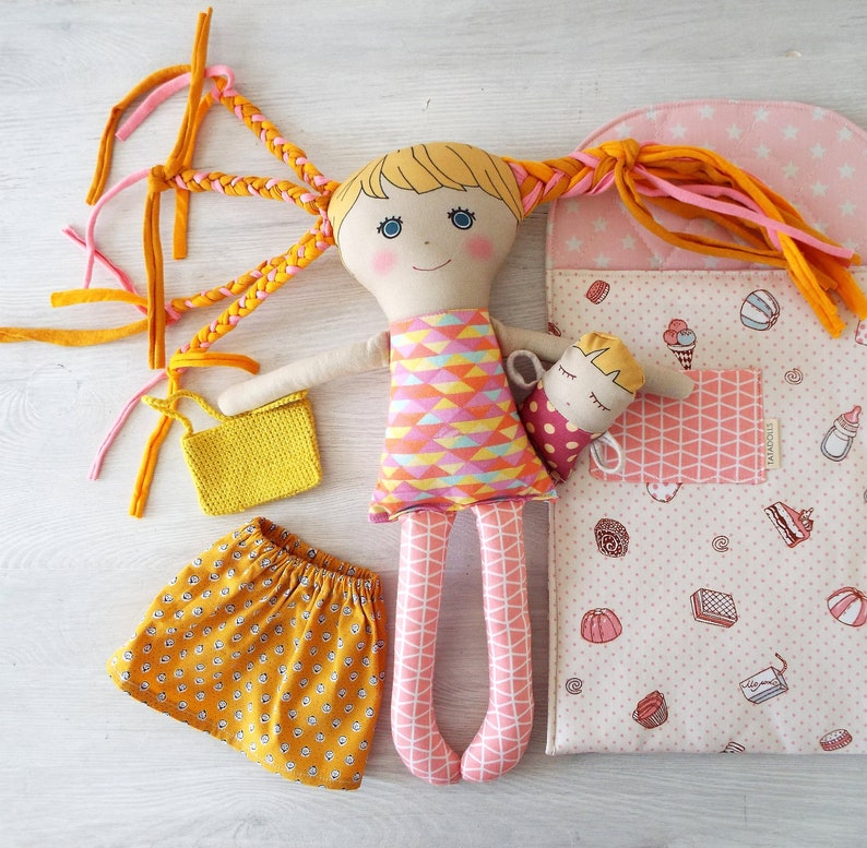 Doll House Sewing Craft PATTERN Childrens Bag Rag Doll Cat Playset
