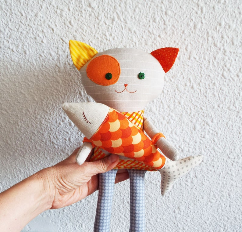 Cat lucky Cat with fish Handmade Cat for Cat Lover Cat Lover Gift Rag Doll Soft Animal toy Stuffed Rag Cat Doll Textile Animal Toy