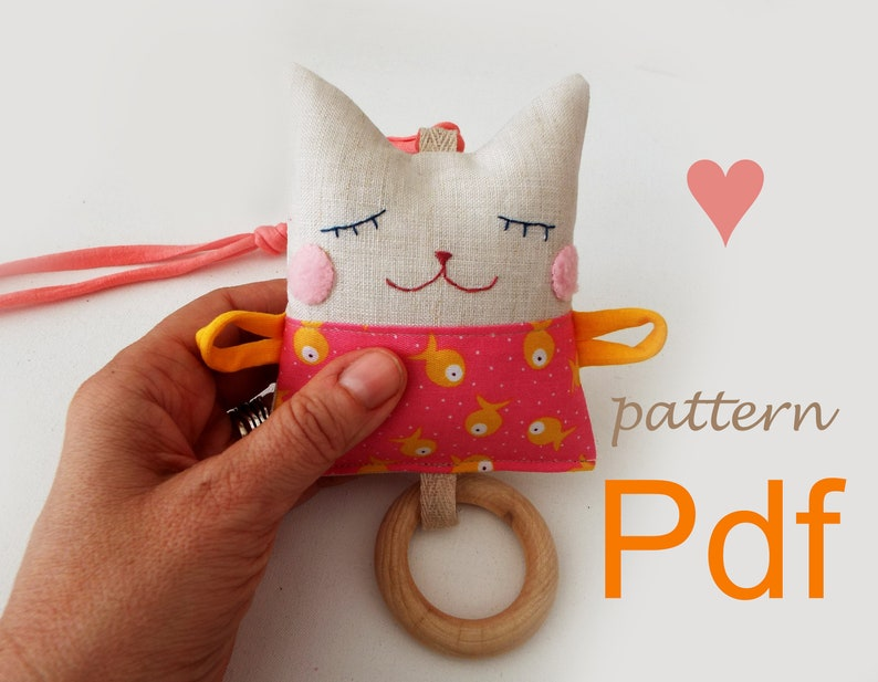 Pattern stuffed Cat doll for baby Textile Baby teething doll image 0