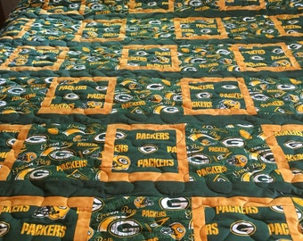 Green Bay Packers themed twin size quilt