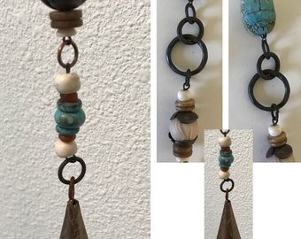 Driftwood Wind Chime, and Driftwood Sun Catcher with bones, bells and scarab