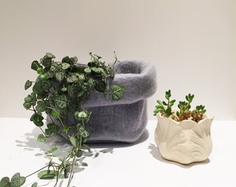 Grey Wool Felt Storage Bag - Ideal for anything you need to store!