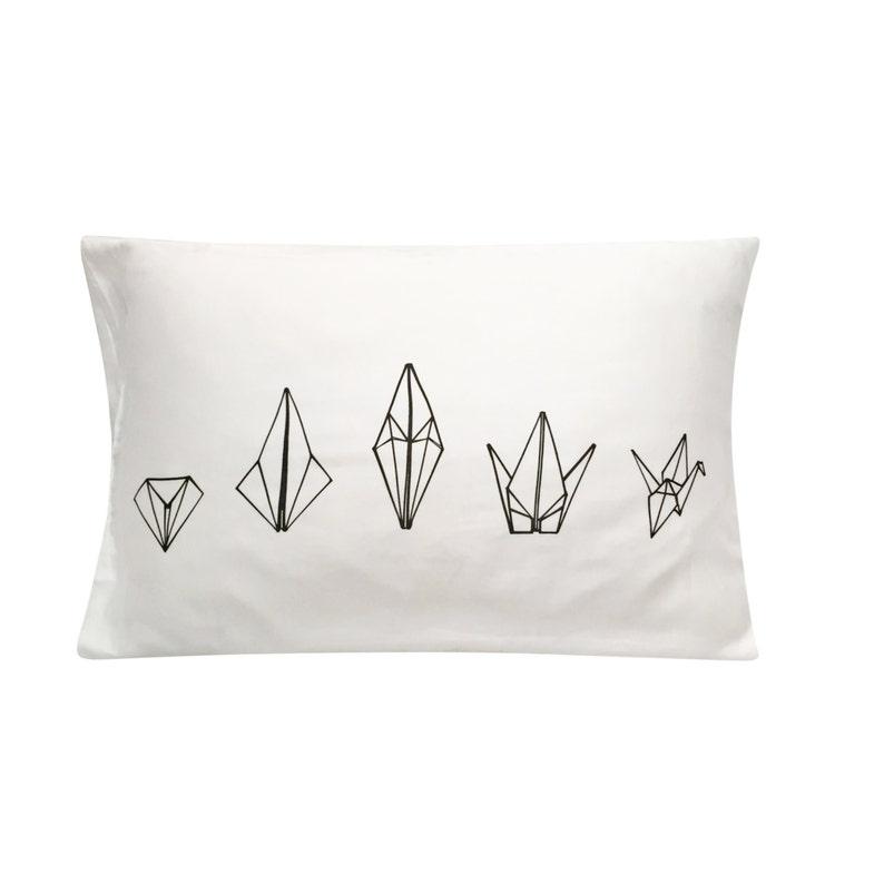Paper Crane Screenprinted Pillowcase  Geometric Neon Tencel image 0
