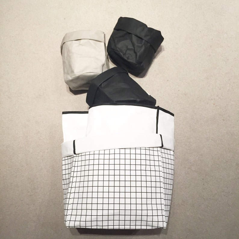 Washable Paper Storage Bag  Large Grid Print image 0