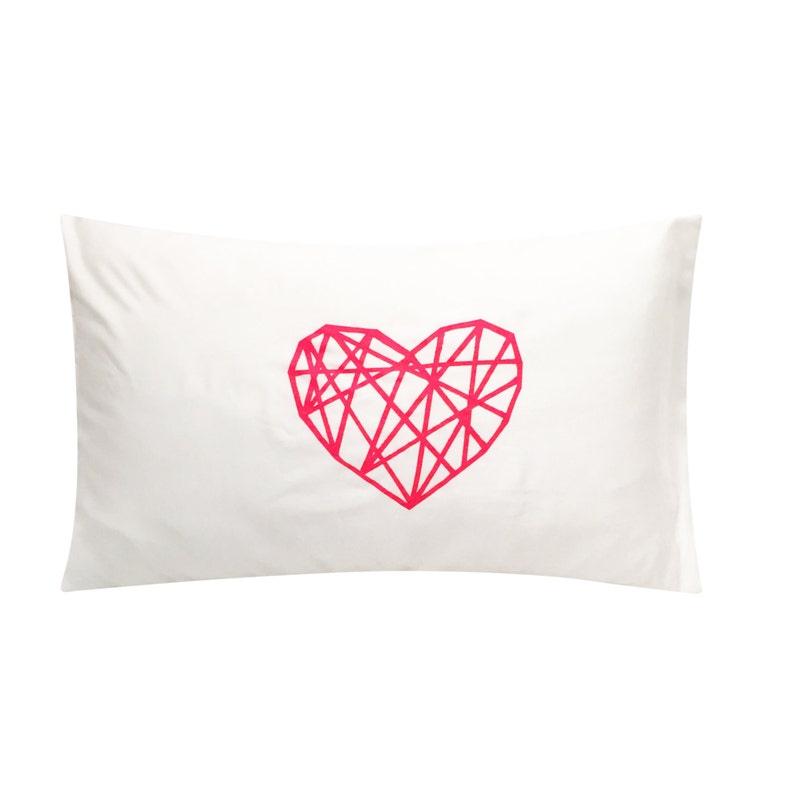 Geometric Heart Screenprinted Pillowcase  Geometric Neon image 0