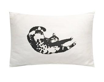 Lazy Cat Screenprinted Pillowcase - Tencel