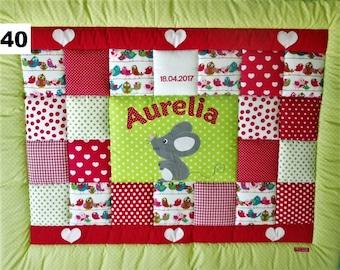 Patchwork blanket, crawling blanket, children's blanket, playpen insert, blanket for tipi tent mouse