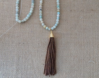 SALE Long amazonite necklace with copper beaded tassel, ocean inspired, layering necklace, beach chic, boho style, summer fashion