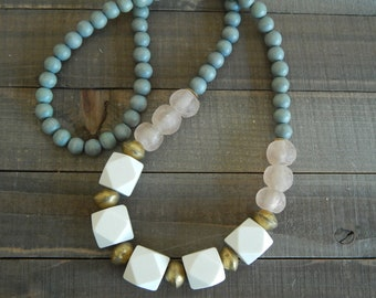 READY TO SHIP Gray wood beads with pink recycled seaglass, boho necklace, beach chic jewelry, geometric wood