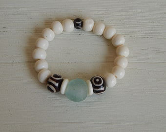 White bone bead bracelet with recycled glass, boho chic, beach chic, stacking bracelet, boho style, organic jewelry, neutral