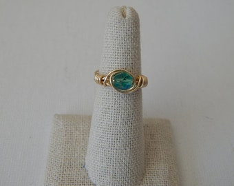 Wire wrapped teal czech glass ring, boho style, everyday ring, festival chic jewelry, dainty ring