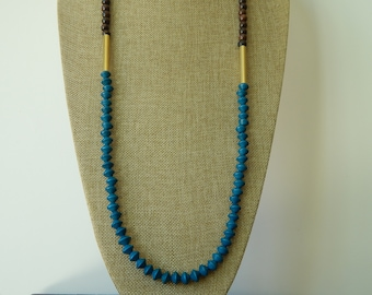 READY TO SHIP Dark wood with teal and brass, boho chic, fall necklace