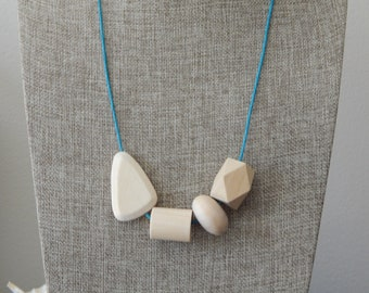 Natural wood bead necklace on cotton cord, boho style necklace, beach chic, layering necklace, geometric wood beads, everyday wear