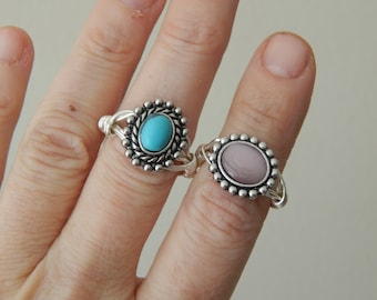 Antique style wire wrapped ring, boho style, everyday ring, festival chic jewelry, neutral, trendy summer jewelry, turquoise, cats eye