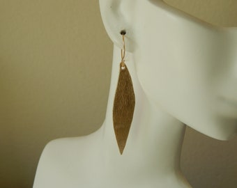 Brushed gold leaf shape earrings, statement earrings, dangle earrings, boho jewelry, beach chic, trendy earrings