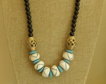 READY TO SHIP Dark wood bead necklace with bone beads, boho necklace, beach chic jewelry