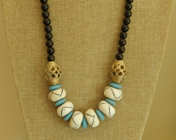 Featured listing image: READY TO SHIP Dark wood bead necklace with bone beads, boho necklace, beach chic jewelry