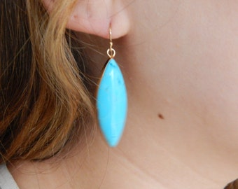 Turquoise earrings with 14kt gold filled, dangle earrings, gold bezel, boho style, trendy jewelry, marquis shape gemstone