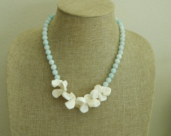 READY TO SHIP Amazonite and white coral necklace, summer jewelry, statement necklace