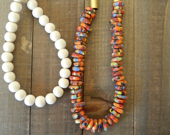Colorful african glass and white wood bead necklace, beach boho necklace, long layering necklace, boho style, trendy jewelry, fall jewelry