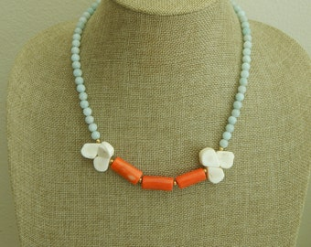 Amazonite and orange coral necklace with white coral briolettes, summer jewelry, statement necklace