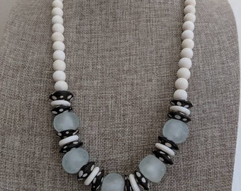 White wood beads with bone beads, boho necklace, beach chic jewelry, black and white, neutral necklace