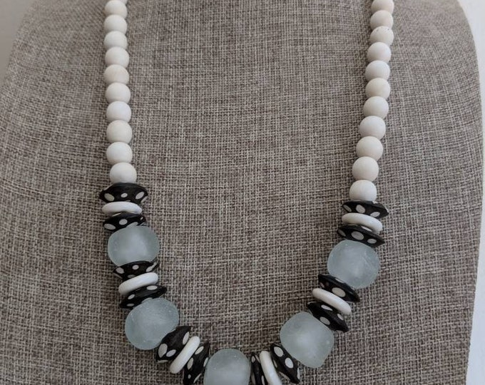 Featured listing image: White wood beads with bone beads, boho necklace, beach chic jewelry, black and white, neutral necklace