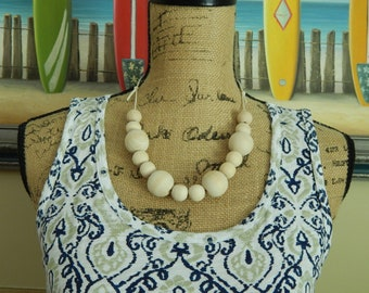Natural wood bead necklace on cotton cord, boho style necklace, beach chic, layering necklace, round wood beads, everyday wear