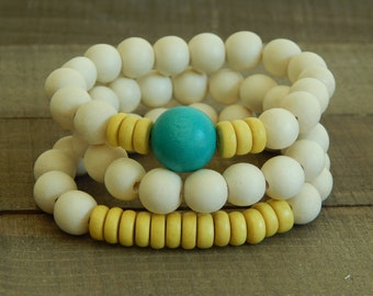 White wood bracelet stack, beach chic, summer stack bracelets, turquoise and yellow bracelets
