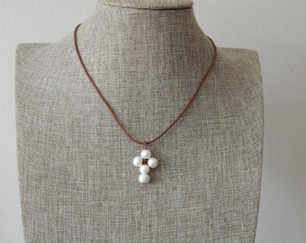 Leather and white pearl cross necklace, boho style, pearl on leather, beach boho, leather and pearl necklace, brown leather cord