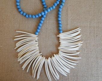Coconut wood bib necklace, beach chic, layering necklace, summer fashion, white wood bead, boho fashion, neutral, bohemian fashion