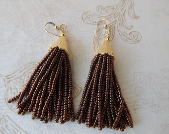 SALE Copper brown beaded tassel earrings, mini tassels, chandelier earrings, statement jewelry, dangle earrings, seed bead, boho style