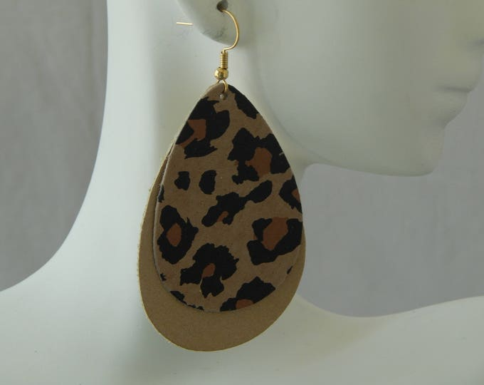 Featured listing image: Animal print leather earrings with earwires, boho chic earrings, handmade jewelry, tear drop shape, summer jewelry, leopard print leather