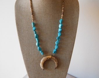 Double horn pendant necklace with turquoise nuggets, brown horn necklace, long layering necklace, neutral, jasper, spring 2017