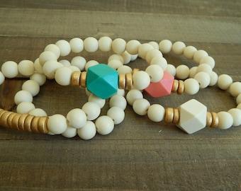 Beaded wood bracelet stack, beach chic, summer stack bracelets