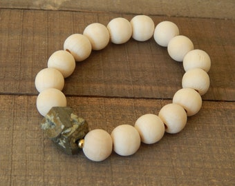 Raw wood stretch bracelet with a pyrite nugget, beach chic, neutral, fall fashion, stacking bracelet, earthy organic jewelry, beaded