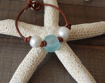 Hand knotted leather cord bracelet with freshwater pearl and aqua blue recycled seaglass, boho style jewelry, glass and pearl
