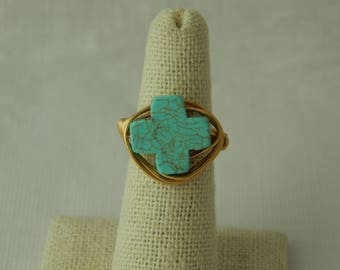 Gold wire wrapped turquoise cross ring, boho style, everyday ring, festival chic jewelry, neutral, trendy jewelry, summer jewelry, religious