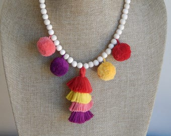 Tiered tassel necklace with pompoms, bohemian style, beach boho, wood beads, beach necklace, summer boho necklace, bright colors