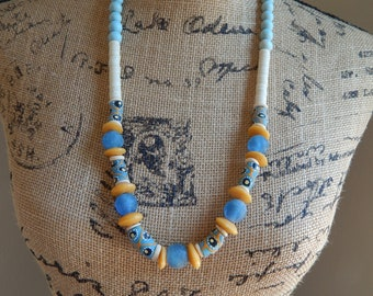 READY TO SHIP Light blue wood beads with blue recycled seaglass, boho necklace, beach chic jewelry