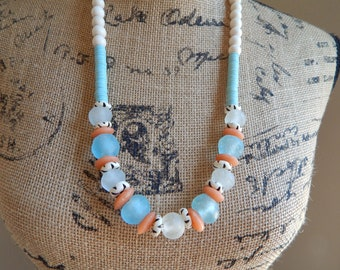 READY TO SHIP WHite wood beads with blue recycled seaglass, boho necklace, beach chic jewelry