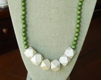 Chunky long layering wood bead necklace, beach chic, geometric beads, olive green and beige, long necklace, natural wood necklace