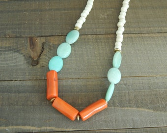 Amazonite and orange coral necklace, summer jewelry, statement necklace, bone beads